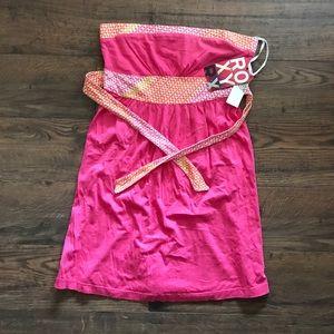 NWT‼️Roxy Pink Strapless Tie Back Mini Dress